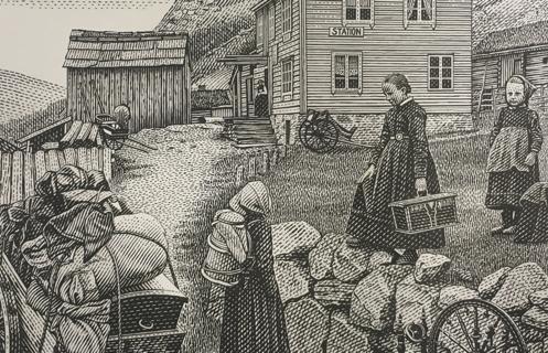 Utsnitt av et gravert frimerke med motiv av et reisefølge fra en gård før i tiden.